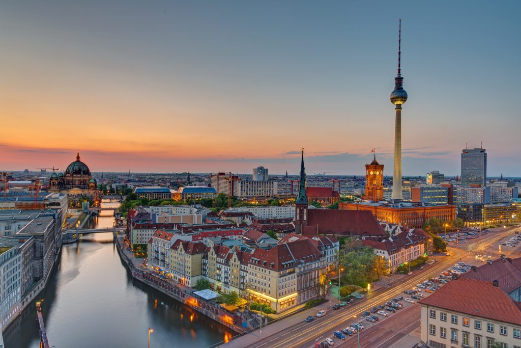 Sunset over downtown Berlin with the famous television tower
