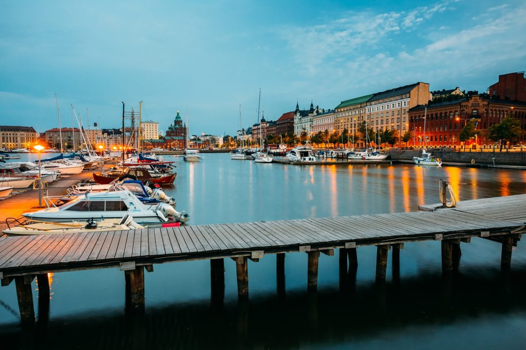 Helsinki, Finland - July 28, 2014: Embankment In Helsinki At Summer Evening, Finland. Town Quay, Famous Place